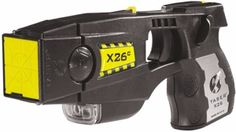 The Taser X-26 has almost 100% effectiveness rating. It combines the injury reducing benefits of traditional stun technology with a quantum leap in stopping power. The X-26 shoots out 2 darts attached to 15 feet of wire packing 50,000 volts of take-down power.