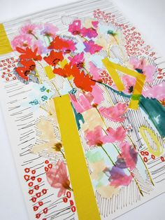 Floral Doodle - Flowers with Yellow Stripes - Archival A4 Print from original illustration via Etsy