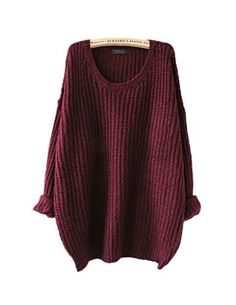 ARJOSA® women's fashion oversized knitted crewneck casual pullovers sweater (#1 Wine Red) ARJOSA http://www.amazon.com/dp/B00PTRFUL8/ref=cm_sw_r_pi_dp_IGajwb09ARE8D