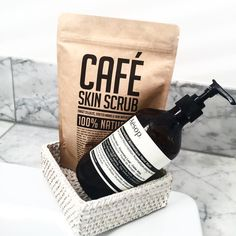 Cafè Skin Scrub - Coffee Scrub Packaging | kraft stand up pouch packaging | curated by Copious Bags™