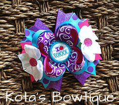 I love School purple teal and pink bow by KotasBowtique on Etsy, $7.49