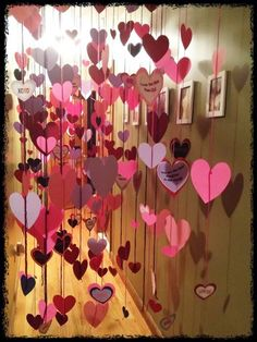 Valentine's Day Morning! Write sweet messages on paper hearts, string together, then hang in the hall or by someone's door for VDay morning!