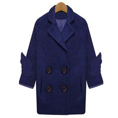 In cold winter,this warm woolen coat is a perfect choice for you. It features solid color,generous and elegant. Long sleeve and double-breasted design. Easy to match and comfortable to wear.