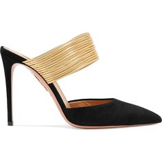 61ef3a36b Aquazzura Rendez Vous 105 Black and Gold Mules - Meghan Markle's Shoes