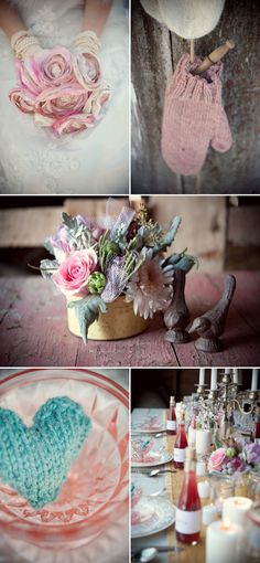 Cute knitted details for place cards.