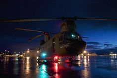 One of the two CH-47F Chinook helicopters from B Company, 1st Battalion, 52nd Aviation Regiment, 16th Combat Aviation Brigade-Alaska, that flew to Kodiak on a mission to help the grounded oil rig Kulluk by hauling equipment to and from the rig sits on the tarmac Jan. 7, 2013. (U.S. Air Force photo/Staff Sgt. Aaron M. Johnson)