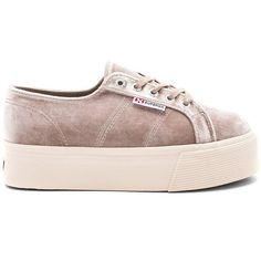 Superga 2790 Velvet Platform Sneaker ($130) ❤ liked on Polyvore featuring shoes, sneakers, velvet platform shoes, lacing sneakers, rubber sole shoes, platform shoes and lace up sneakers