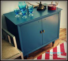 The Turquoise Iris Vintage Modern Home Mid Century Indigo Blue Mini Bar