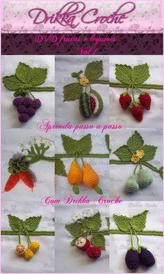 Dvd Vol.1 mini frutas e legumes em croche nele ensino passo a passo todas as frutas e legumes que estão no cartaz  * Capa Ilustrativa*