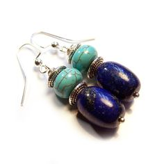 Blue Lapis Lazuli & Magnesite Stone Silver Tone Dangle Earrings  Metal: Silver Plated  Total length: 46mm from top to bottom  Main Stone: 10x13mm Lapis Lazuli, 10x6mm Magnesite stone  Ear hook type: silver plated fish ear hook  Material: 22gauge silver plated wire, Price: $14.95