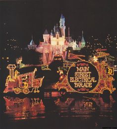 My #1 FAVORITE experience at Disneyland!!  The Main Street Electrical Parade.  Many associate this with the Magic Kingdom at WDW but it originated at Disneyland in 1972 and ran until 1974, made an encore in 1977, closed again in 1982 and finally Disneyland heard the groundswell from Guests and brought it back in 1985 for a run that would take it to 1996.  The parade then returned as Disney's Electrical Parade in Disneyland's sister park- California Adventure in 2001