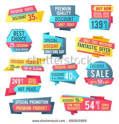 Stock Vector: Sale banners and price tag labels, selling card and discount sticker. Best offer advertising graphics vector templates. Illustration of retail sticker and banner -