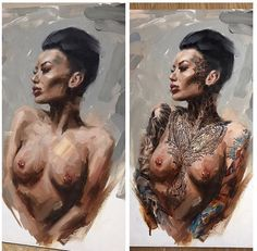 The paintings of artist Chris Guest , Neo Pin-Up images with tattooed models Hot Tattoos, Girl Tattoos, Tattoo Models, Art Studios, Modern Art, Pin Up, Wonder Woman, Superhero, Classic