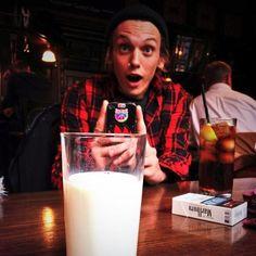 Jamie Campbell Bower selfie. Delicious milk.