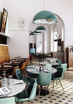Verdi Italian Kitchen (London), Restaurant or bar in a heritage Building Keane Brands Design Bar Restaurant, Restaurant Hotel, Design Hotel, Italian Restaurant Decor, Restaurant Chairs, Restaurant Lighting, Restaurant Kitchen, Interior Exterior, Home Interior