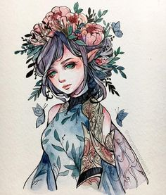 Margaret Morales is a visual designer, painter and watercolor artist from Philippines. Pretty Art, Cute Art, Fantasy Kunst, Fantasy Art, Dibujos Tumblr A Color, Witch Art, Watercolor Artists, Manga Watercolor, Aesthetic Art