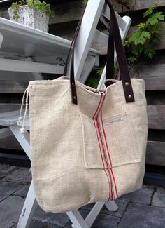 Large reversible antique linen grain sack tote by boonestaakjes