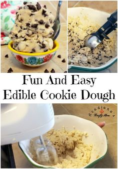 Fun And Easy Edible Cookie Dough. Do your kids beg for the cookie dough before you even get a chance to bake cookies? Edible Cookies, Edible Cookie Dough, Yummy Cookies, Cookie Dough Ingredients, Party Food And Drinks, Baking Flour, Cream Recipes, I Love Food, Dessert Recipes