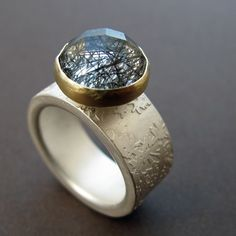 Rutilated tourmaline, etched silver and gold ring