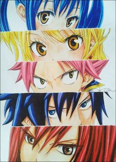 Fairy Tail - Natsu Dragneel, Gray Fullbuster, Erza Scarlet, Wendy Marvell and Lucy Heartfilia