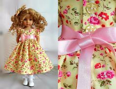 """spring dress & hair bow compatible with Dianna Effner 13"""" little darling doll in Dolls & Bears, Dolls, Clothing & Accessories, Fashion, Character, Play Dolls 