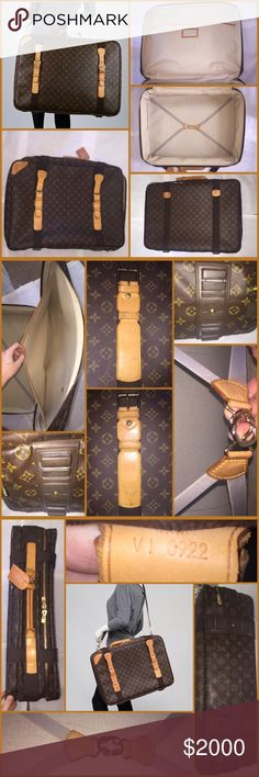 """Authentic Louis Vuitton Satellite 65 Soft Suitcase Lovely & sturdy Louis Vuitton Suitcase w/ Monogram Canvas w/ leather trim & buckle straps. Washable interior w/ elastic strap. This bag is discontinued Exterior-Good w/ faint scratches (pic 4), minor marks on leather, & wear to piping on 1 back corner that exposes metal (see pic 4) Interior-Excellent Pics on mannequin are stock photos for size only, all other photos are of actual bag listed Measurements-25.5""""L x 5.5""""W x 18""""H As thorough as…"""
