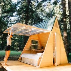 Check out this Hipcamp in Oregon: Star A-Frame Tiny Cabin, Cedar Bloom - Located right off the 199 Redwood Highway, we welcome you to our forest sanctuary. These tiny A-Frame cabins are our newest addition to the land. Tiny Cabins, Tiny House Cabin, Tiny House Design, A Frame Cabin, A Frame House, Casa Hotel, How To Build A Log Cabin, Building Plans, Rustic Design