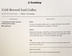 NYT Cold Brew Coffee - 1:1 Concentrate:H20 ratio