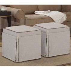 Natural Skirted Ottomans (Set of 2) | Overstock.com