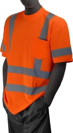 Majestic 75-5306 Hi Vis Orange Safety T-Shirt ANSI Class 3 Pocket