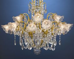Antique Lighting, Baccarat Crystal Chandelier, Dore Bronze