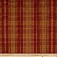 Robert Allen Promo Cozy Plaid Ruched Stripe Flame from @fabricdotcom  Refresh and modernize an old piece of furniture and update it with a new look. This medium weight plaid fabric has a ruched (slightly gathered) stripe and is appropriate for some window treatments, accent pillows, upholstering furniture, headboards and ottomans. Colors include orange, olive and harvest gold.