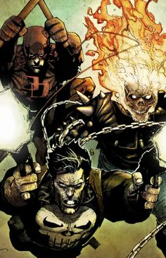Daredevil, Punisher and Ghost Rider