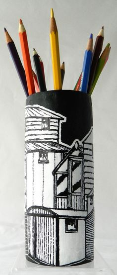 'Sheds' papier mache pen/pencil holder. New design. Pencil Holder, Mid Century Design, Sheds, Objects, Scrap, Houses, How To Make, Inspiration, Biblical Inspiration