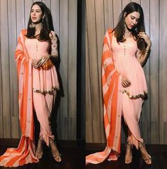Peach and orange striped dupatta with full peach outfit
