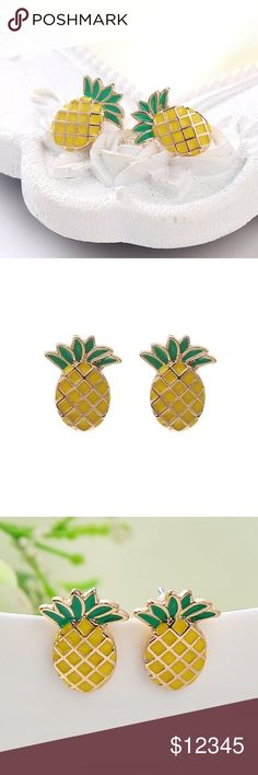 COMING SOON!!! Cute pineapple stud earrings Little stud earrings in the shape of pineapples! Super cute and fun! LIKE this listing to be notified when item becomes available! ❤ Jewelry Earrings