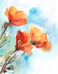 Poppies, Watercolor Painting Art Print, Orange Blue Watercolour Wall Art