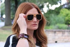 Memphis wooden sunglasses from GoWood. Made of Oak wood. Photo from Styleforage Blog. #Woodsunglasses #Sunglasses #GoWood #Fashion #Wood #Oak #Style #StyleForage #Woodframe