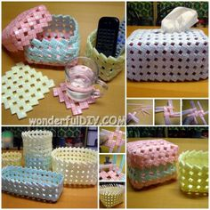 Wonderful DIY basket from drinking straw ! Tutorial>>http://wonderfuldiy.com/wonder-diy-basket-from-drinking-straw/  Like us >>https://www.facebook.com/wonderfuldiy2014