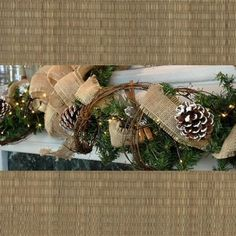 A burlap garland with grapevine accents for a rustic Christmas look. #beverlys #holidaydecor