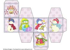 All In One Gift Box Cosy Snowmen on Craftsuprint designed by Sheila Rodgers - These little gift boxes are very quick and easy to make. Everything you need is on one sheet of card, just print, score along the lines and fold and stick. The Christmas designs would look great tied with twine and hung on a Christmas tree. The finished box sides measure 6cm. - Now available for download!