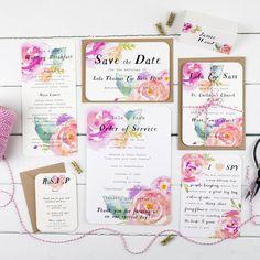 Summer Bloom Wedding Invitation And RSVP