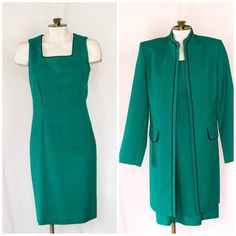Emerald green sheath dress with matching by TimeTravelFashions
