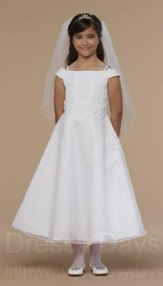 First Communion Dress in Organza with Lace Off the Shoulder  : ACD1010