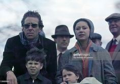 Princess Margaret (right) with her family, husband Lord Snowdon (left) and children, Lord Linley and Lady Sarah Armstrong-Jones, (foregroud), during the Badminton Horse Trials in Gloucestershire on 18th April 1970.  (Photo by Ray Bellisario/Popperfoto/Getty Images)