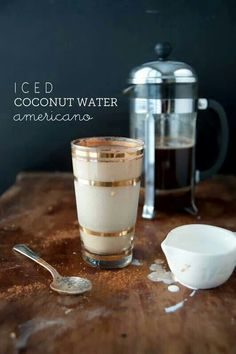 Iced coconut water americano: 1 shot espresso 4 oz coconut water teaspoon cinnamon 1 oz half and half Ice Non Alcoholic Drinks, Fun Drinks, Yummy Drinks, Yummy Food, Beverages, Smoothie Drinks, Smoothies, Chocolates, Coconut Benefits