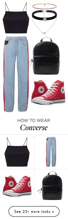 """•WHEN UR BORED IN FASHION CLASS•"" by creativegurlsrbaexoxo on Polyvore featuring Koché and Converse"