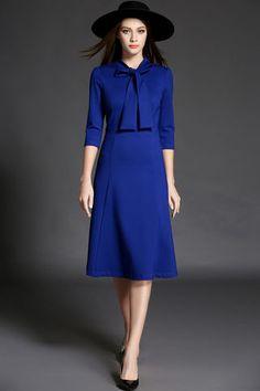 $56.99 Royal Blue Bow Collar Dress
