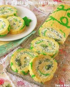 » Rulada aperitiv cu broccoliCulorile din Farfurie My Recipes, Recipies, Romanian Food, Easter Crafts, Cantaloupe, Zucchini, Sushi, Good Food, Fun Food