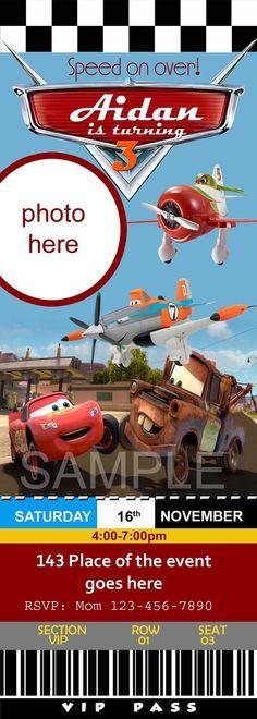 Disney cars and planes invitation McQuenn by neildigiprints